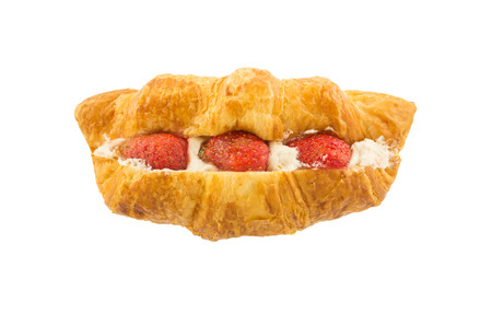 filled: croissant filled strawberry and cream isolated on a white background