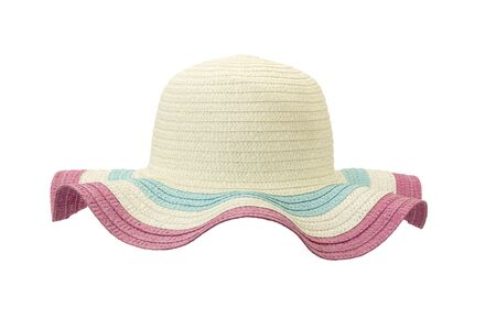 white and pink floppy hat isolated on white background