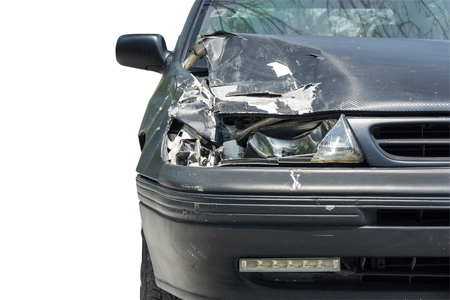 careless: front view of car crash isolated on white background