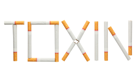 toxin: Word toxin made of cigarettes isolated on white background , cigarettes is toxin concept