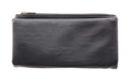 clutch bag: black leather clutch bag isolated on white background