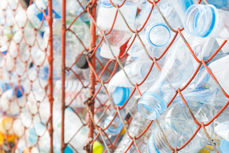 a lot of empty plastic bottles for recycling Stock Photo