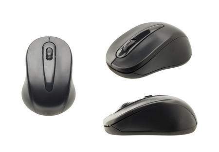 set of black wireless computer mouse isolated on white background Imagens