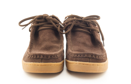 brown men boots isolated on a white background Stock Photo
