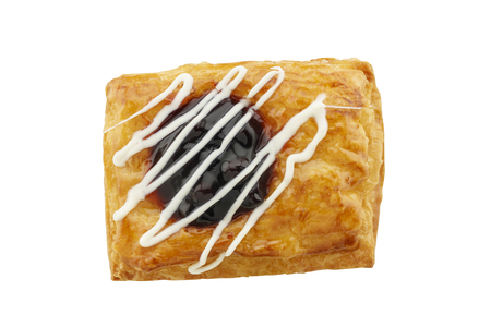 danish puff pastry: top view of danish puff pastry topped with blueberry isolated on white background