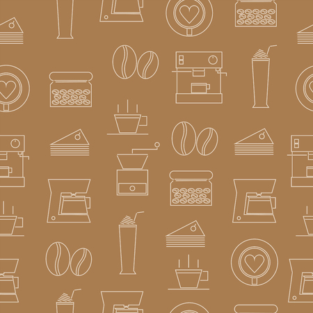 Seamless pattern of thin line icons coffee on brown background Standard-Bild - 101213812