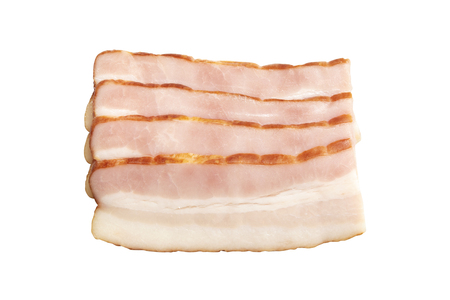 Raw smoked bacon slices isolated on a white background