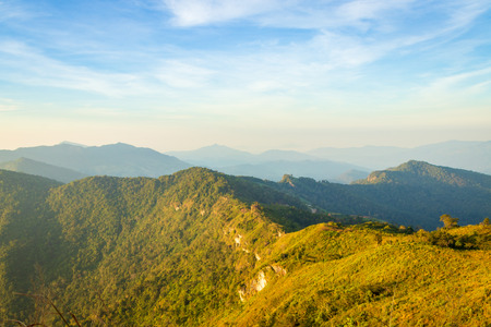 mountain ridge and blue sky in the morning at chiang Rai, Thailand