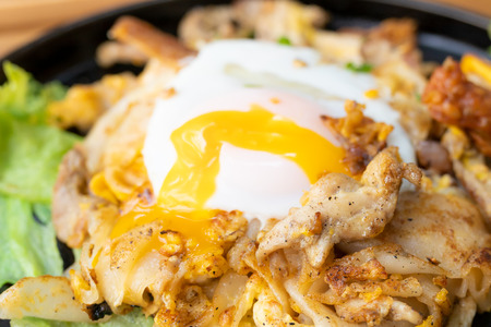 Stir fried rice noodles with chicken and fried egg (Thai food)