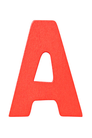 Red wooden alphabet capital letter A isolated on a white background