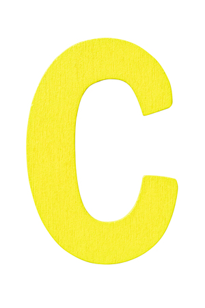yellow wooden alphabet capital letter C isolated on a white background Imagens