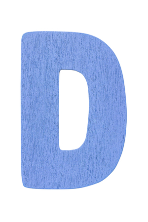 blue wooden alphabet capital letter D isolated on a white background Imagens