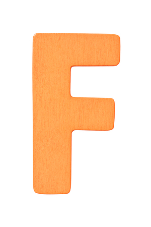orange wooden alphabet capital letter F isolated on a white background Imagens