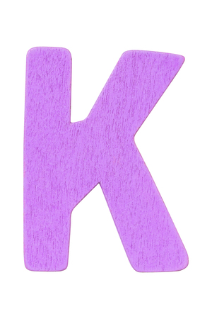purple wooden alphabet capital letter K isolated on a white background