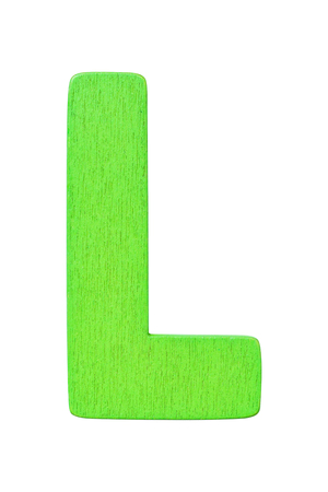 green wooden alphabet capital letter L isolated on a white background