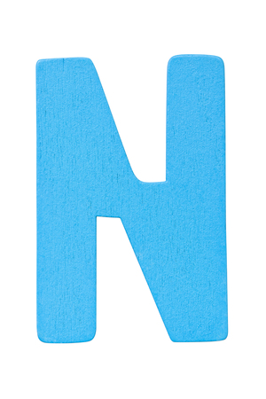 blue wooden alphabet capital letter N isolated on a white background