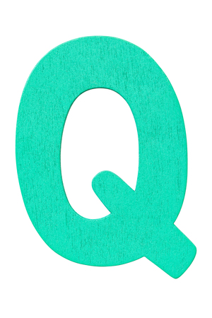 green wooden alphabet capital letter Q isolated on a white background Imagens