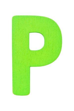 green wooden alphabet capital letter P isolated on a white background