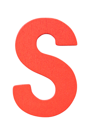 red wooden alphabet capital letter S isolated on a white background Imagens