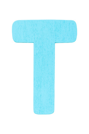 blue wooden alphabet capital letter T isolated on a white background Imagens
