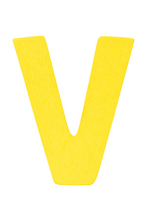 yellow wooden alphabet capital letter V isolated on a white background Imagens