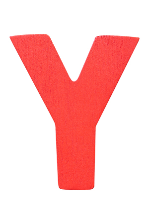 red wooden alphabet capital letter Y isolated on a white background Imagens