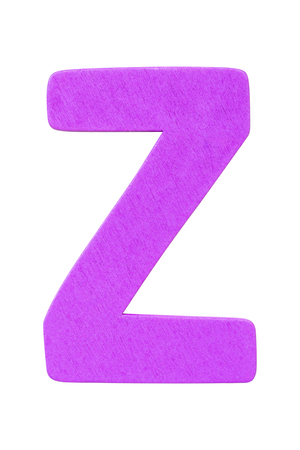 purple wooden alphabet capital letter Z isolated on a white background Imagens