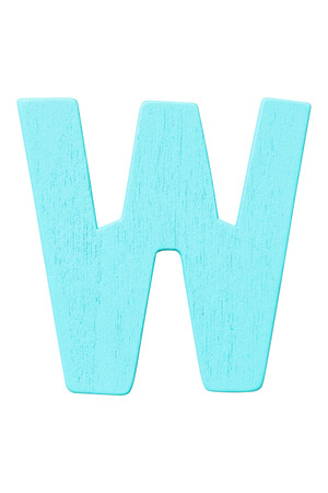 blue wooden alphabet capital letter W isolated on a white background
