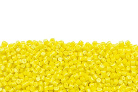 yellow plastic resin ( Masterbatch ) isolated on a white background