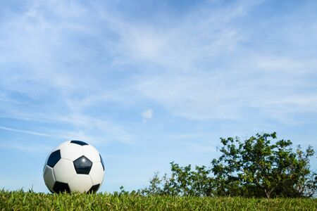 football on grass with cloud and sky background in the morning