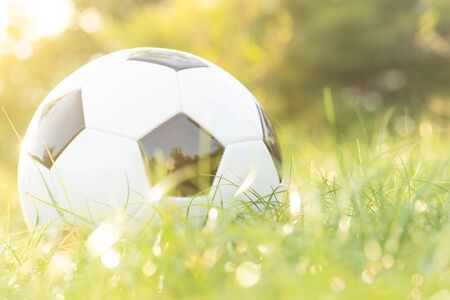 football on grass with bokeh and golden sunlight in the morning Stockfoto