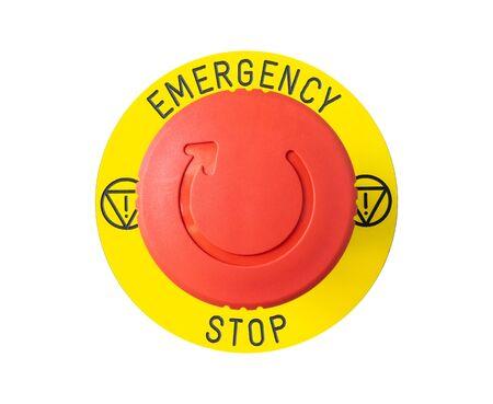 primo piano del pulsante di emergenza rosso isolato su sfondo bianco Archivio Fotografico