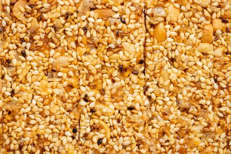sweet cereal bar texture and background, Traditional thai desserts Stok Fotoğraf