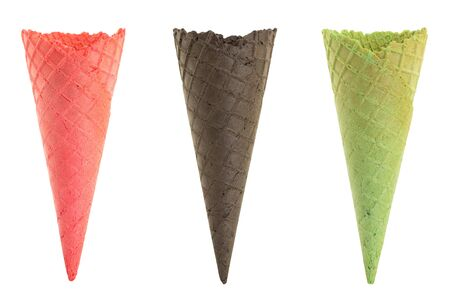 Set of empty colorful ice cream cone isolated on white background Фото со стока