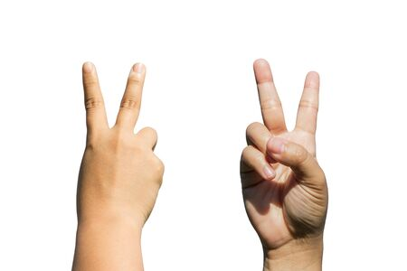 front and back side of woman hands gesturing sign victory isolated on a white background