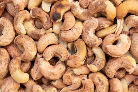 Top view of Roasted Cashew Nut with Shell for Background