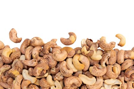 roasted cashew nut with Shell isolated on a white background Stock Photo