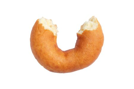 Half of classic doughnut isolated on a white background