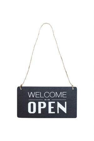 welcome we are open sign board hanging on a rope isolated on white background