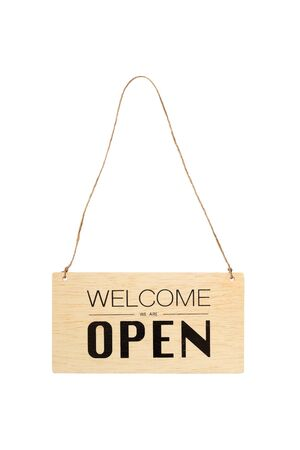 welcome we are open sign on wooden board hanging on a rope isolated on white background Archivio Fotografico