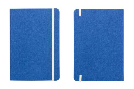 front and back view blue book cover isolated on a white background