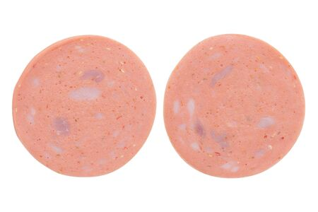 Set of Spicy Bologna Ham Slides Isolated on a White Background