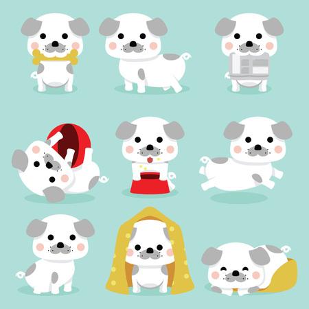 Set of puppies in different poses Stock Illustratie