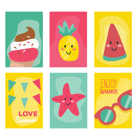 Summer cards collection with Smile Character Illustration