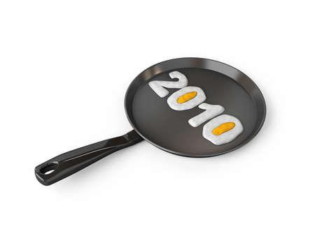 Teflon frying pan for cook eggs 2010 Stock Photo - 6107788