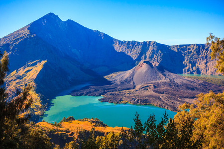 Panorama view of Mountain Rinjani at Lombok island of Indonesia Stock Photo