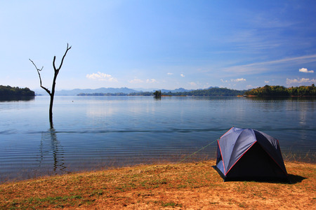 waterside: Waterside camping in Kanchanaburi, Thailand