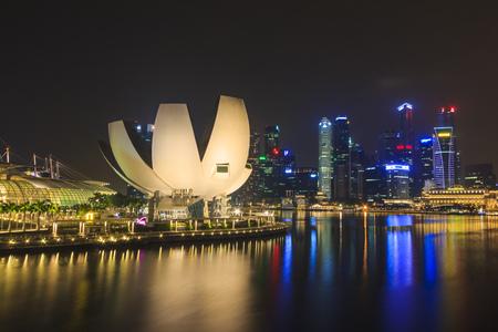marina bay: Marina Bay Sands lighting show famous landmark of Singapore bay