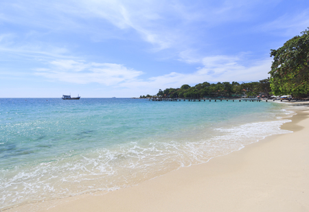 Summer tropical sea, beach, wave and blue sky at Koh Samed Island, famous tourist attraction in Rayong province, Thailand. Stock Photo