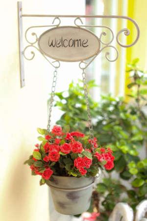 welcom: flowered welcom sign Stock Photo